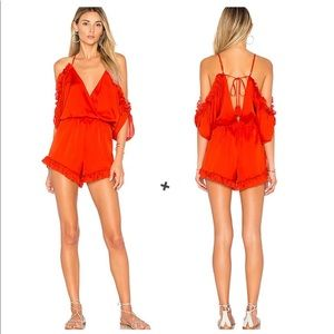 Lovers + Friends Red Malia Off Shoulder Romper